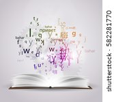 a cloud of letters and words in ... | Shutterstock .eps vector #582281770
