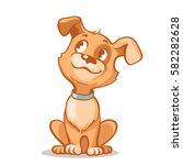 Happy Cartoon Puppy Sitting ...