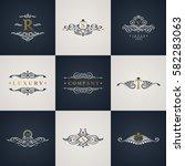 luxury logo monogram set....   Shutterstock .eps vector #582283063