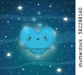 cute blue planet of love  the... | Shutterstock .eps vector #582288160