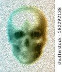 vector skull. disco diamond... | Shutterstock .eps vector #582292138
