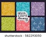 cartoon hand drawn doodles on a ...   Shutterstock .eps vector #582293050
