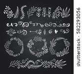 collection hand sketched... | Shutterstock .eps vector #582293056