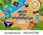 vector travel banner with a... | Shutterstock .eps vector #582295708