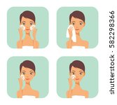 face cleanse skin care routine... | Shutterstock .eps vector #582298366