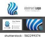 abstract ribbons corporate logo ... | Shutterstock .eps vector #582299374