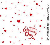 card happy women's day. red... | Shutterstock .eps vector #582299470