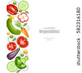 fresh healthy vegetables... | Shutterstock .eps vector #582316180
