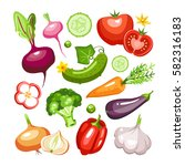fresh vegetables collection... | Shutterstock .eps vector #582316183
