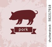 pig silhouette with ribbon   Shutterstock .eps vector #582317818