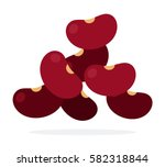 fruits red beans vector flat... | Shutterstock .eps vector #582318844