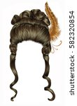 woman wig  hairs curls.... | Shutterstock .eps vector #582320854