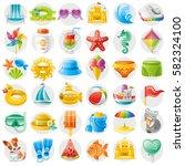 sea travel icon set  child... | Shutterstock .eps vector #582324100