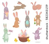 Stock vector easter rabbit character bunny different pose vector set 582343159