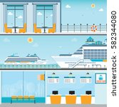 info of cruise ship terminal at ... | Shutterstock .eps vector #582344080