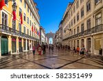 rua augusta arch and statue of... | Shutterstock . vector #582351499