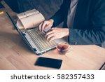 man a computer laptop with a... | Shutterstock . vector #582357433