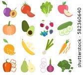 set of fresh healthy vegetables ... | Shutterstock .eps vector #582360640