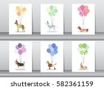set of cute animal with balloon ... | Shutterstock .eps vector #582361159