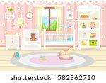 Flat Design. Baby Room With A ...