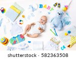 baby on white background with... | Shutterstock . vector #582363508