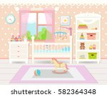 flat design. baby room with a ... | Shutterstock .eps vector #582364348