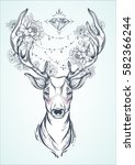 beautiful hand drawn tribal... | Shutterstock .eps vector #582366244