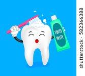 cute cartoon tooth character... | Shutterstock .eps vector #582366388