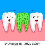 funny watermelon cartoon tooth...   Shutterstock .eps vector #582366394
