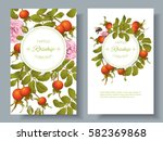 vector rose hip vertical... | Shutterstock .eps vector #582369868