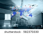 forklift handling container box ... | Shutterstock . vector #582370330