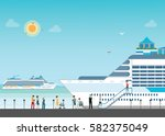cruise ship anchored  at sea... | Shutterstock .eps vector #582375049