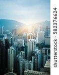 aerial view of hong kong... | Shutterstock . vector #582376624