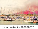 sailing yachts on sea harbor... | Shutterstock . vector #582378598