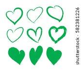 Green Brush Stroke Hearts Set....
