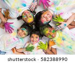 five indian kids making circle... | Shutterstock . vector #582388990