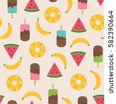 cute summer seamless pattern...   Shutterstock .eps vector #582390664