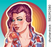 young woman vintage portrait ... | Shutterstock .eps vector #582392380