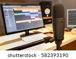 condenser microphone in radio... | Shutterstock . vector #582393190