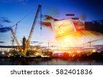 construction plan the refinery... | Shutterstock . vector #582401836