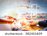 transportation the container ... | Shutterstock . vector #582401839