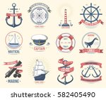 fashion nautical logo sailing... | Shutterstock .eps vector #582405490