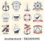 fashion nautical logo sailing... | Shutterstock .eps vector #582405490