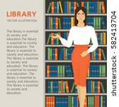 librarian is on a background... | Shutterstock .eps vector #582413704