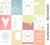 set of journaling cards for... | Shutterstock . vector #582414640