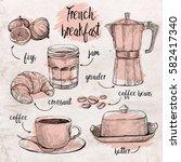 vector set of coffee maker  cup ...   Shutterstock .eps vector #582417340
