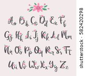 vector colorful flower font... | Shutterstock .eps vector #582420298