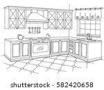 kitchen graphic room interior... | Shutterstock .eps vector #582420658