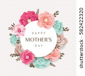 mother's day greeting card with ... | Shutterstock .eps vector #582422320