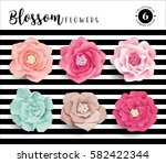 collection of 6 vector blossom... | Shutterstock .eps vector #582422344